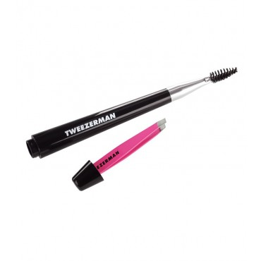 Tweezerman - Brocha para cejas con mini pinza rosa