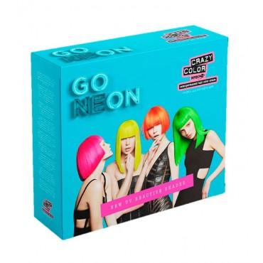 CRAZY COLOR - Kit de Cremas colorantes para el cabello Go Neon Quad