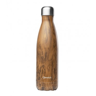 Qwetch - Botella Isotérmica Acero Inoxidable 500ml - Madera