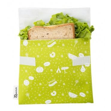 Qwetch - Bolsa porta snacks reutilizable - Zero Waste Kids - Verde