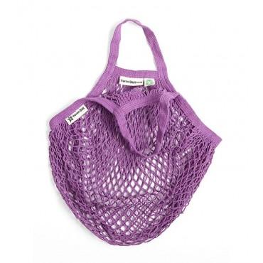Turtle Bags - Bolsa de Algodón Ecológico de Red con Asa Corta - Violeta
